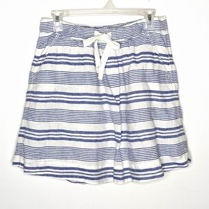 J. CREW Blue and White Nautical Linen Lined Skirt